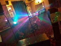 Band DJ Disco lights. Moving Scanners. Smoke Machine. ParCan LEDs, Stage Rise Box. 8 parcan spots