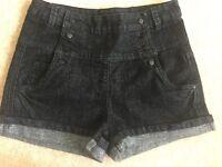 Dark Denim Glittery High Waited Shorts Size 12