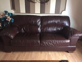 3 piece brown leather sofa - immaculate condition