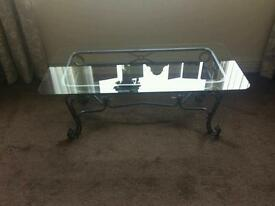 Grey pewter metal and glass table