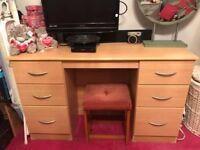 Dressing Table/Desk in Light Teak (Similar to Pine)
