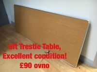 6ft Trestle Table - GREAT CONDITION, Oak/Steel, £90 OVNO.