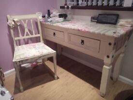 Table & Matching Chair - MUA Work Table/Dressing Table/Hall Table
