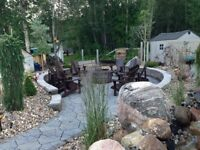 Paving stone, firepits, lighting, water features, 5 yr warrantee
