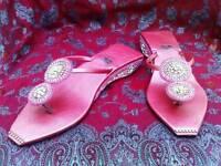 Ladies pink sandals heels footwear