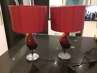 Red Next lampshade & lamps