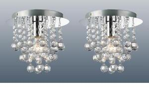 PAIR OF CHROME ROUND FLUSH FITTING CHANDELIER CEILING LIGHTS CRYSTAL DROPLETS