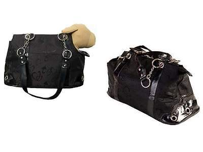 Luxury Dog Puppy Carrier - Rococo - Heart Pattern - Black - Dogs up to 8 lbs