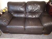 Leather 2 x Seater Sofa, Wood Feet