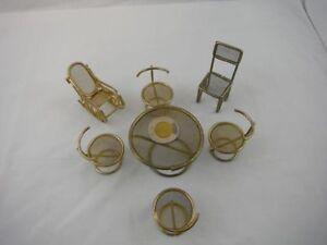 Vintage Metal Miniature Doll House Furniture 7 pieces