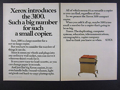 1973 Xerox 3100 Compact Copier copying machine photo vintage print Ad