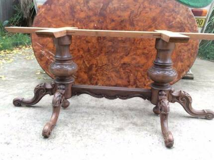 Huge stunning handmade burr veneer table