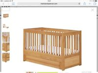 marks and spencer oak cot bed. excellent condition