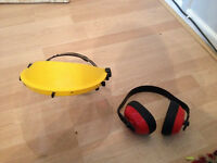 ear defenders and face mask