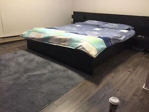 Queen size IKEA bed with night stands and mattress