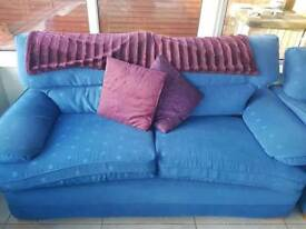 Blue sofa and 2 chairs no rips in good condition