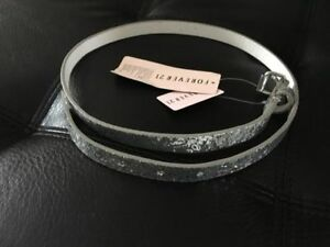 F21 Women's Sequins Belt - Silver