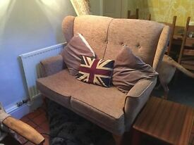 Vintage/ Retro style Two Seater Wingbacked Sofa