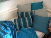 Co-ordinating curtains, cushions and throws