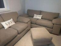 Three and two seater sofas plus footstool