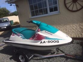 1998 Seadoo Bombadier Jetski 950cc on snipe trailer, new battery at beginning of season