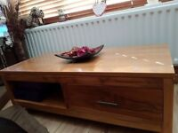 UNIQUE SOLID HANDMADE INDIAN TEAK COFFEE TABLE WITH 1 DRAWER