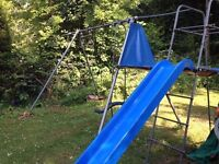 TP triple Giant Swing Set with slide and tent platform