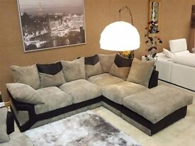 Large Brown Sofa with Detachable Footstool