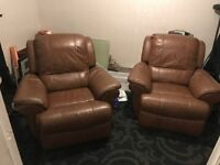 2 Brown Leather Reclining Armchairs for Sale