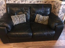 2 seater leather sofa x 2
