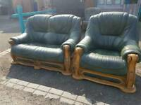 Italian leather 2 seater sofa with matching armchair