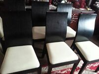 wood, black 6 chairs