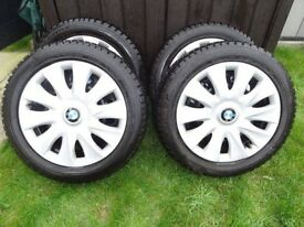 4 x Dunlop Winter Tyres / Steel Wheels 205/55 R16 91H M&S (BMW trim)