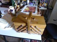Vintage Solid Wood Sewing or Art box