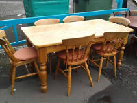 Large 6 seater farmhouse dining table