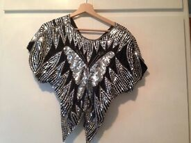 Original American Vintage Silver And Black Butterfly Sequinned Top - FREE SIZE