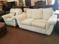 Light fabric 2 seater with matching armchair