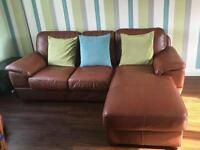 Corner sofa brown leather