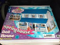 Brand new wooden dolls house with 40 accessories