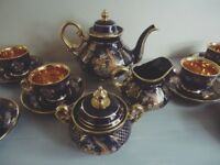 Vintage Turkish Durmusoglu china tea service set tea pot cups saucers