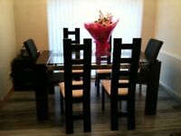 Glass Dinning Table (Piano Black Finish)