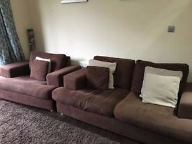 Brown Cord 3 seater Sofa and Cuddle Chair.
