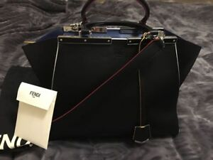 LIKE NEW Authentic Fendi 3Jour Bag in Black - Condition 9.8/10
