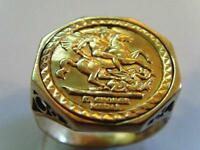 9CT GOLD ST GEORGE AND DRAGON OCTAGONAL RING