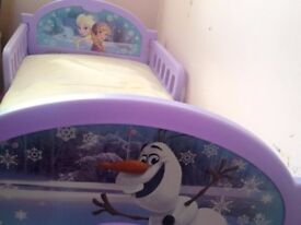 frozen toddler bed. With Ana, Elsa and Olaf. Great condition
