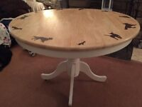 Hand Burnt Dining Table with Dogs Pyrography FREE DELIVERY