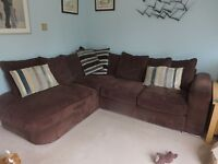5 seater Furniture Village Chocolate Brown Corner Sofa