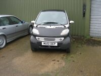 smart car, sporty remapped with wide wheels, spares or repair