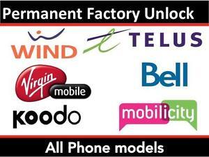 Rogers Fido Bell Telus Wind Kodoo Virgin iPhone Samsung Unlocking