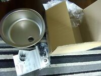 Stainless steel round sink NEW IN BOX with fittings
